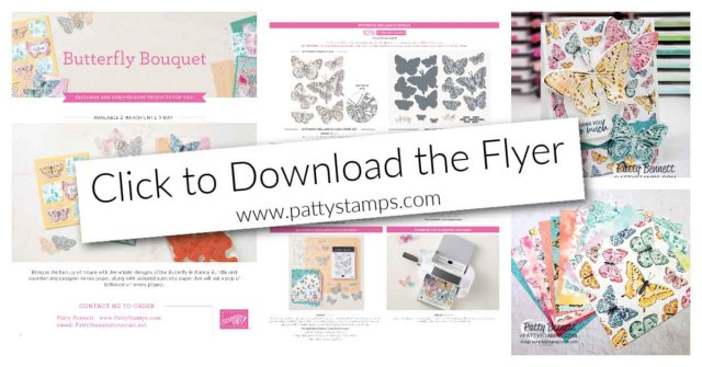Butterfly Brilliance collection pdf flyer for stamp set, dies, bundle and paper. Stampin' Up! limited time offer.