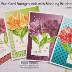 Use Stampin Up! masks, Blending Brushes and ink pads to create a beautiful stenciled background on Oh So Ombre designer paper. Cards features the Art Gallery stamp set. by Patty Bennett