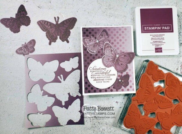 Use Stampin Up! masks, Blending Brushes and ink pads to create a beautiful stenciled background on Oh So Ombre designer paper. Card features the Butterfly Brilliance bundle.  by Patty Bennett
