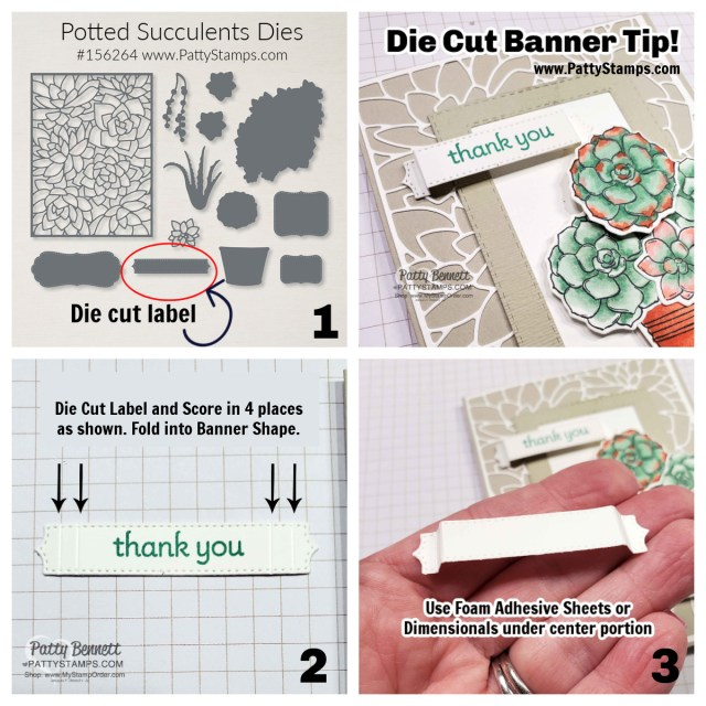 Craft Tip! die cut a label and score 4 times then fold to make a banner! www.PattyStamps.com