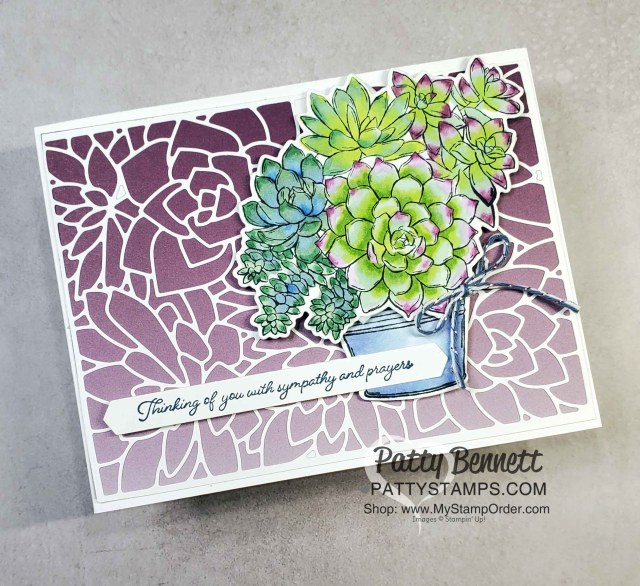 Rich Razzleberry Oh So Ombre background with Potted Succulents die and Simply Succulents stamp set with Stampin' Blends markers. Card by Patty Bennett www.PattyStamps.com