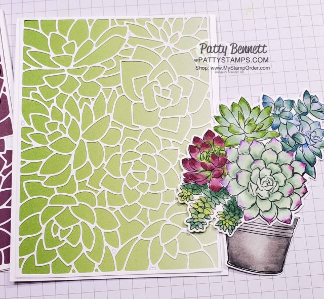 Supplies for Simply Succulents stamp set with Stampin' Blends markers, with Oh So Ombre background. Card by Patty Bennett www.PattyStamps.com