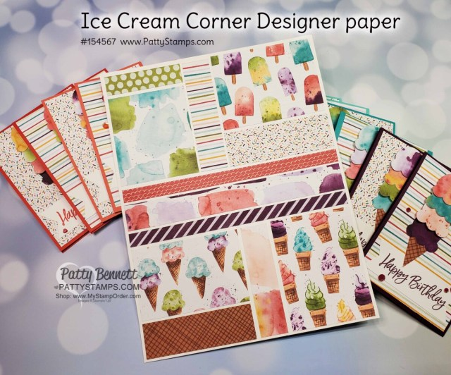 Stampin UP! Ice Cream Corner designer paper is great for creating fun birthday cards, party favors, gift card holders and decorations! www.pattystamps.com