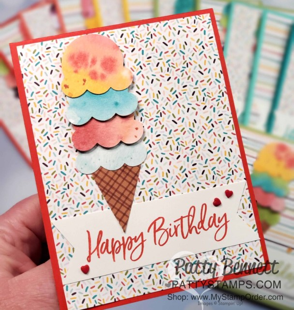 Handmade birthday card idea featuring Ice Cream Corner Suite from Stampin' Up!. Ice Cream Cone builder punch and Ice Cream Corner designer paper. www.PattyStamps.com