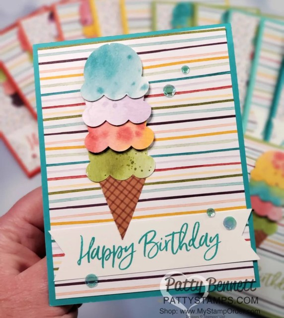 Birthday Card idea featuring Ice Cream Corner Suite from Stampin' Up!. Ice Cream Cone builder punch and Ice Cream Corner designer paper. www.PattyStamps.com