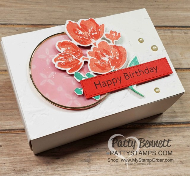 Art Gallery Bundle flowers decorate this birthday treat box featuring a gold hoop and the Painted Texture embossing folder front panel.