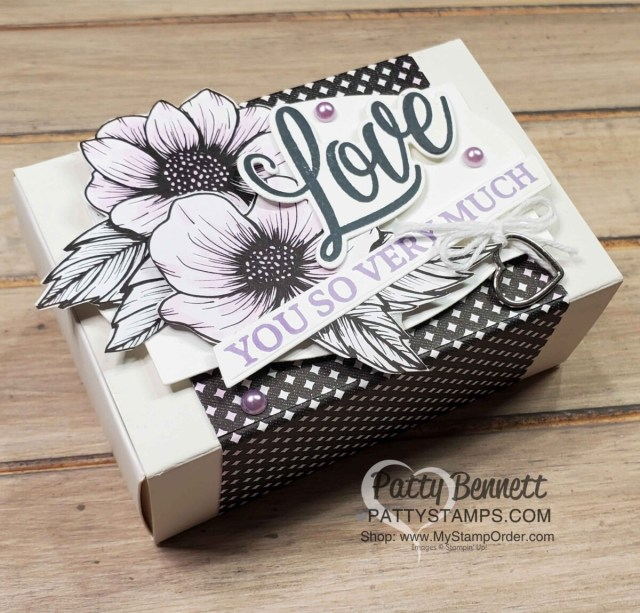 True Love black and white designer paper is wrapped around the Treat box, and flowers from the DSP were colored with Purple Posy Stampin' Blends. Die cuts and stamps from the Forever & Always bundle.