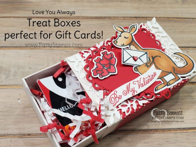 Love You Always treat boxes decorated with Kangaroo and Company stamp set for Valentine's Day Treat. www.PattyStamps.com