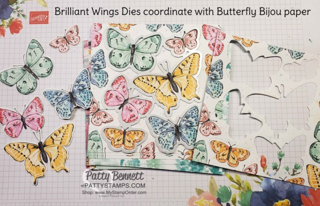Use Stampin' UP! Brilliant Wings dies to die cut butterflies from Butterfly Bijou designer paper. www.PattyStamps.com