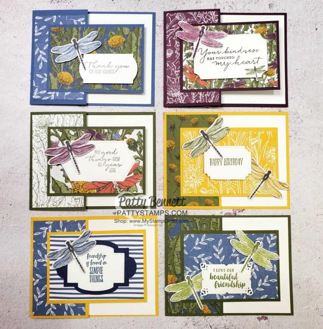 6 Card Ideas:  Dandy Garden Fun Fold card featuring Stampin' Up! Dragonflies punch and Dandy Garden 6x6 paper stack by Patty Bennett www.PattyStamps.com