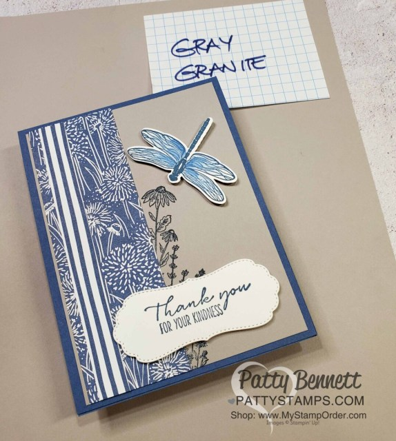Dragonfly card idea featuring Stampin' Up! Dandy Garden suite, Dragonflies punch, Stampin' Blends coloring and Gray Granite cardstock, by Patty Bennett
