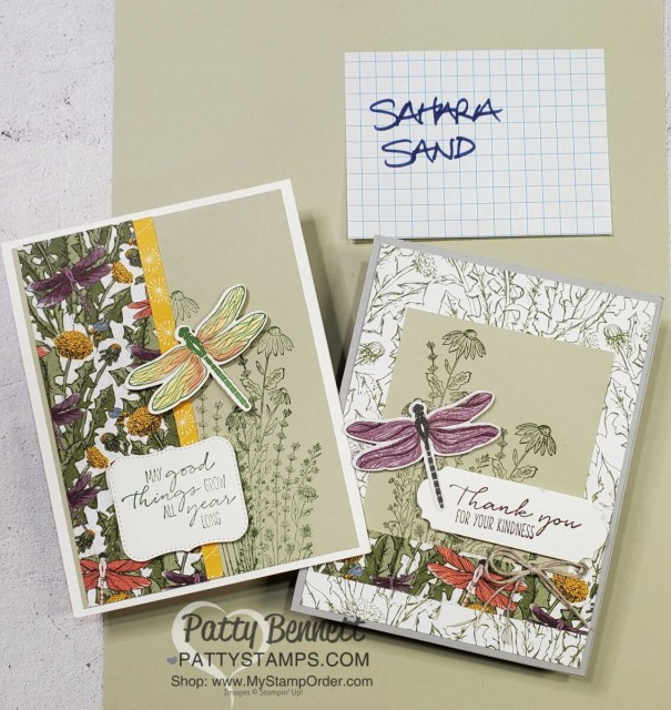 Dragonfly card idea featuring Stampin' Up! Dandy Garden suite, Dragonflies punch, Sahara Sand cardstock and Stampin' Blends coloring by Patty Bennett