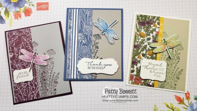 Dragonfly card idea featuring Stampin' Up! Dandy Garden suite, Dragonflies punch, Stampin' Blends coloring and Gray Granite, Smoky Slate & Sahara Sand cardstock, by Patty Bennett