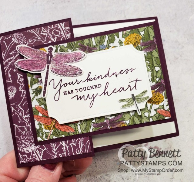 Dandy Garden Fun Fold card featuring Stampin' Up! Dragonflies punch and Dandy Garden 6x6 paper stack by Patty Bennett www.PattyStamps.com