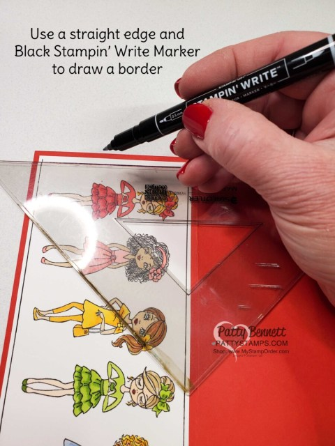 Tip! use a straight edge and a Basic Black Stampin' Write marker to draw a border on your handmade card! www.pattystamps.com