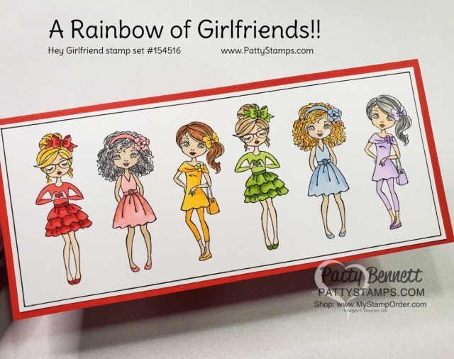 Fun Slimline card idea featuring Stampin' Up! Hey Girlfriends set, colored with a rainbow of Stampin' Blends marker colors by Patty Bennett