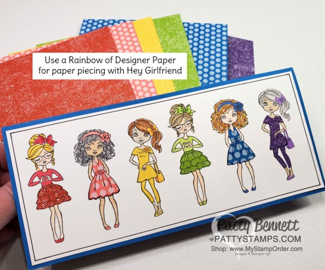 Hey Girlfriend rainbow slimline card featuring paper piecing from the Brights 6x6 paper stack. Card by Patty Bennett