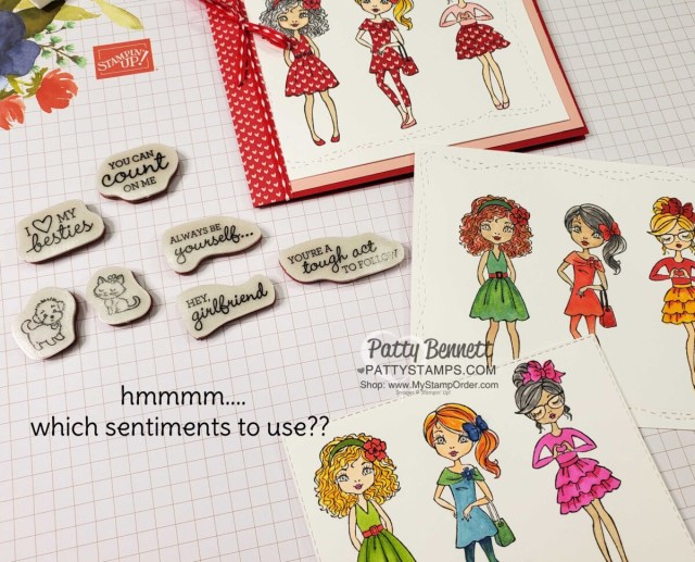 The Hey Girl stamp set comes with super cute greetings!  Which ones shall I use? www.PattyStamps.com