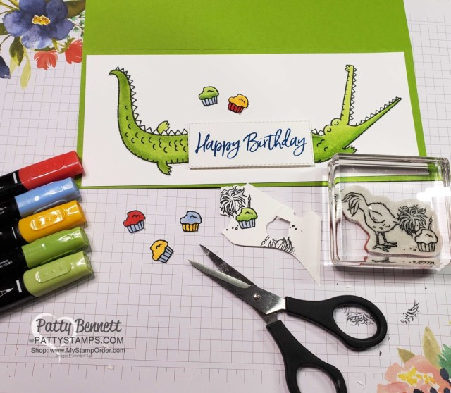 Stamp cupcakes from the Hey Birthday Chick set, color with Stampin' Blends markers, and add to the card front!  www.PattyStamps.com