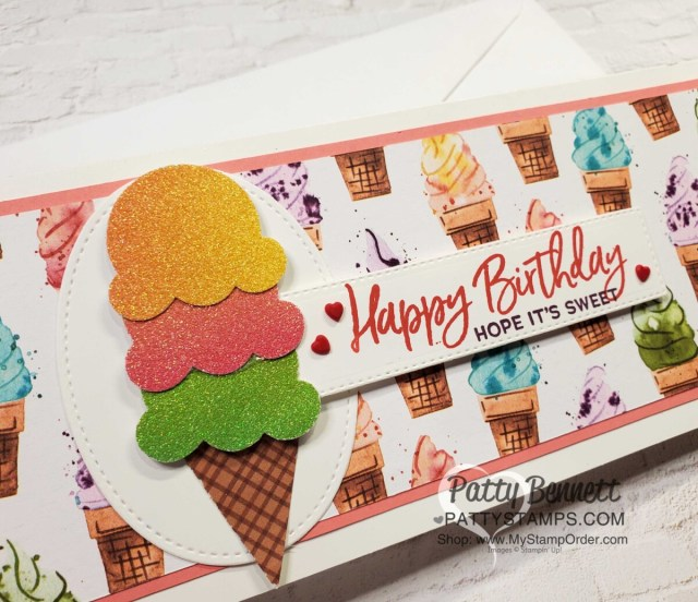 Birthday Card Idea: Rainbow Paper Ice Cream Cone birthday card - slimline card with Stampin UP! Ice Cream Corner designer paper. by Patty Bennett