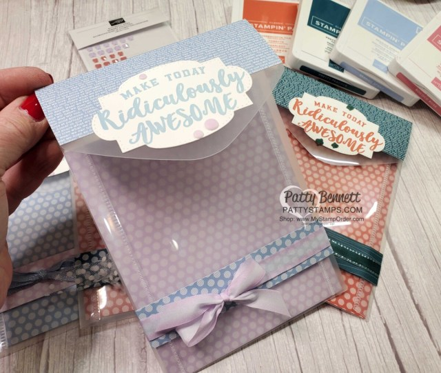 Repurposing Stampin' Up! die envelopes using Retiring Stampin' Up! In Color designer paper and Ridiculously Awesome stamp set for gift packaging. by Patty Bennett