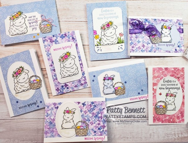 Great Springtime Joy note cards featuring Stampin' Up! Hydrangea Hill designer paper, and Stampin' Blends to color lamb and bunny. cards by Patty Bennett