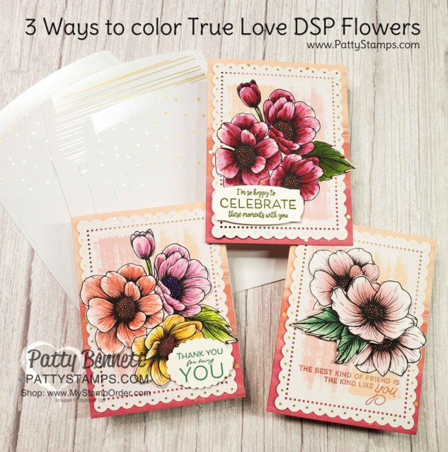 3 Ways to Color on True Love designer paper and make a set of note cards with the Sweet Little Valentine cards & envelope set. By Patty Bennett www.pattyStamps.com
