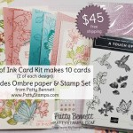 Touch of Ink card kit offer from Patty Bennett includes Oh So Ombre paper and supplies to make 10 cards. www.PattyStamps.com