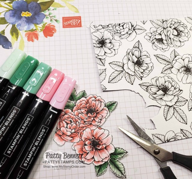 Coloring on True Love designer paper with Stampin' Blends markers, fussy cutting flowers with Paper Snips. Stampin' UP! card making supplies. Cards by Patty Bennett