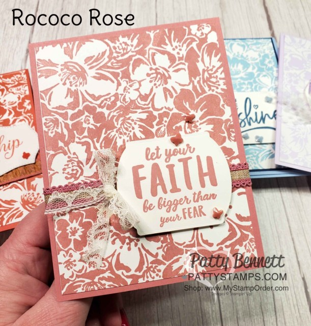 Retiring Stampin' Up! 2019-2021 In Colors.  Card Idea featuring the Wild Roses background stamp with Rococo Rose ink and cardstock, by Patty Bennett www.PattyStamps.com