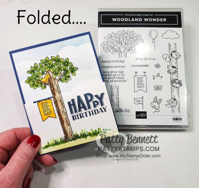 Woodland Wonders pull out card for Jason's birthday! Stamp and color tree and animal images with Stampin' Blends markers. Card by Patty Bennett www.PattyStamps.com