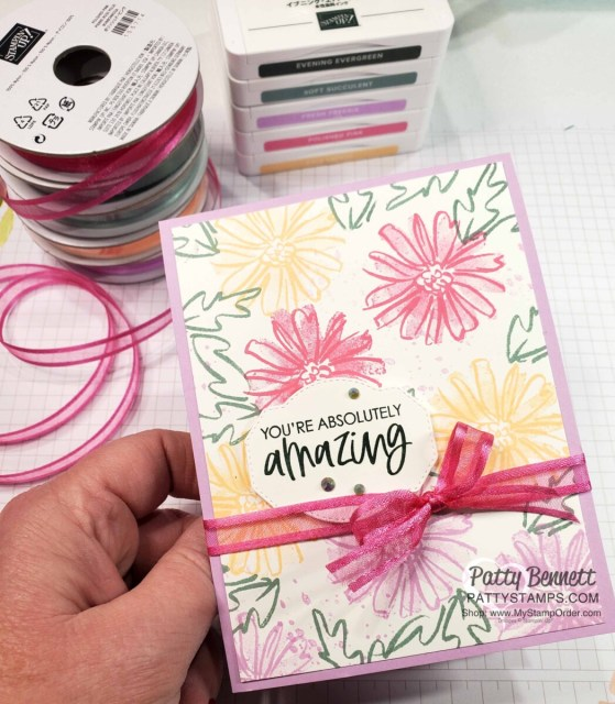 Card idea featuring Color & Contour stamp set, Polished Pink ribbon and 2021-2023 Stampin' Up! In Colors by Patty Bennett www.PattyStamps.com