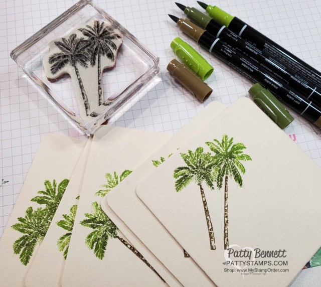 Direct to Rubber technique with Stampin' Write Markers for Bag Tags for Luv 2 Stamp Group Maui Trip achievers featuring Stampin' Up! Timeless Tropical set, by Patty Bennett