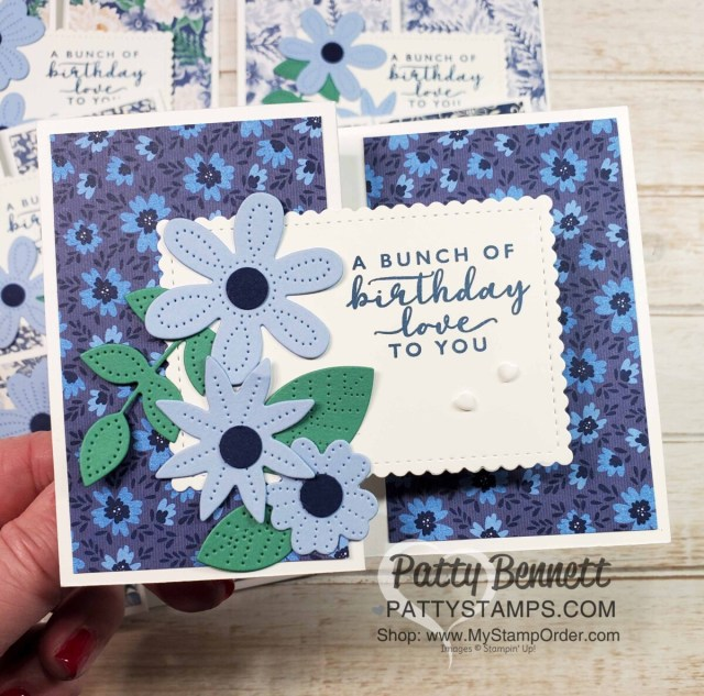 Fun Fold Card Idea featuring Stampin' Up! Pierced Blooms Dies and Boho Indigo designer paper. by Patty Bennett www.PattyStamps.com