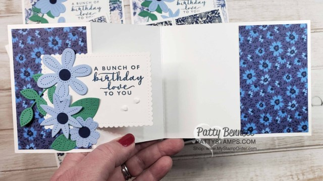 Inside view: Fun Fold Card Idea featuring Stampin' Up! Pierced Blooms Dies and Boho Indigo designer paper. by Patty Bennett www.PattyStamps.com