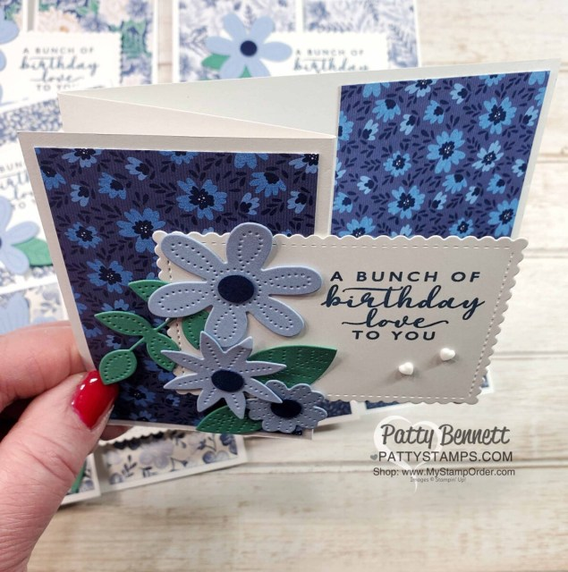 Top View: Fun Fold Card Idea featuring Stampin' Up! Pierced Blooms Dies and Boho Indigo designer paper. by Patty Bennett www.PattyStamps.com