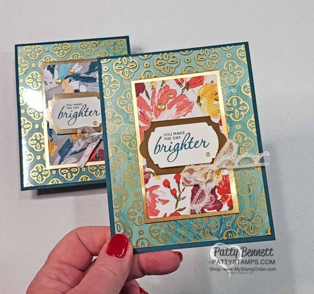 Golden Garden acetate overlay card ideas featuring Stampin' Up! Fine Art Floral designer paper by Patty Bennett www.PattyStamps.com