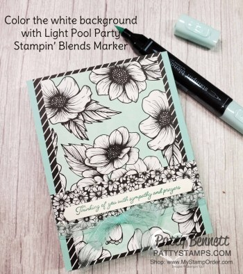 Stampin' Blends Background Coloring with True Love paper