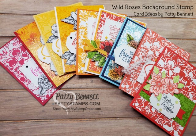 Wild Roses background stamp card ideas - Stampin' Up! cards by Patty Bennett #154363