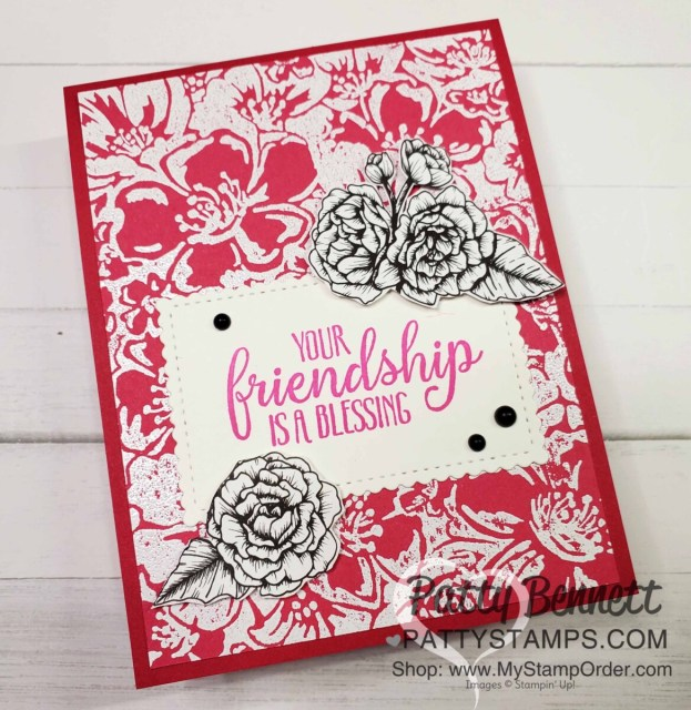 Wild Roses background stamp card idea featuring white embossing powder on Melon Mambo Stampin' Up! cardstock by Patty Bennett #154363