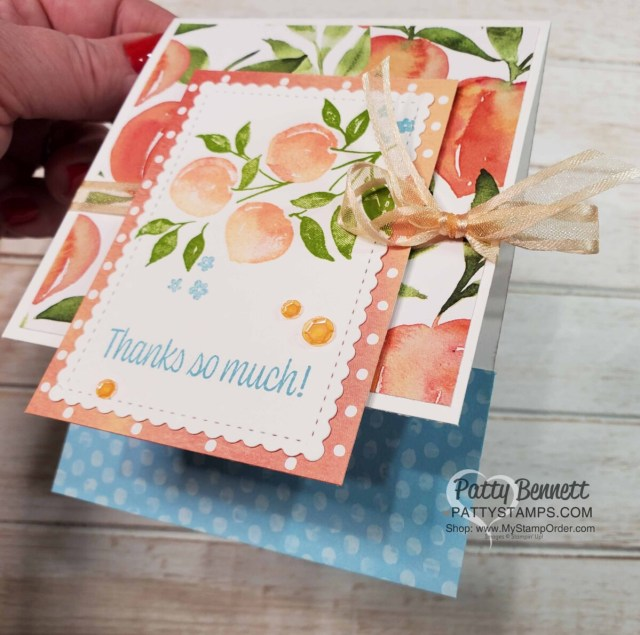 Easy Fun Fold Sweet as a Peach Stampin' Up! card idea featuring Pale Papaya ribbon, by Patty Bennett www.PattyStamps.com