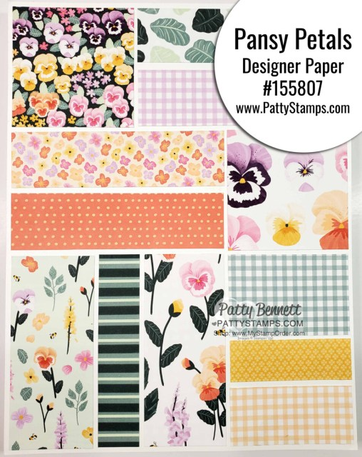 Pansy Petals Designer Paper from Stampin' Up! #155807 www.PattyStamps.com for papercrafting and card making projects.