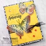 Butterfly Brilliance card idea with True Love Designer paper mat layer by Patty Bennett