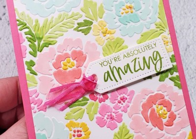 Stampin' Blends Coloring on Pretty Flowers embossing folder