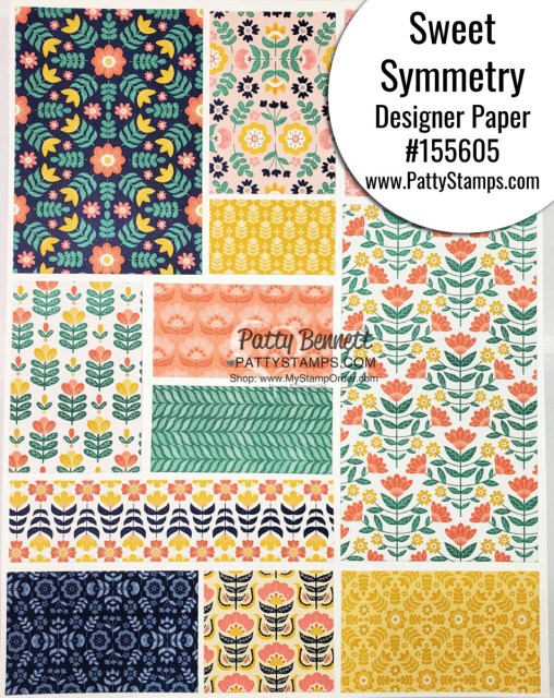 Sweet Symmetry designer paper from Stampin' Up! #155605 www.PattyStamps.com