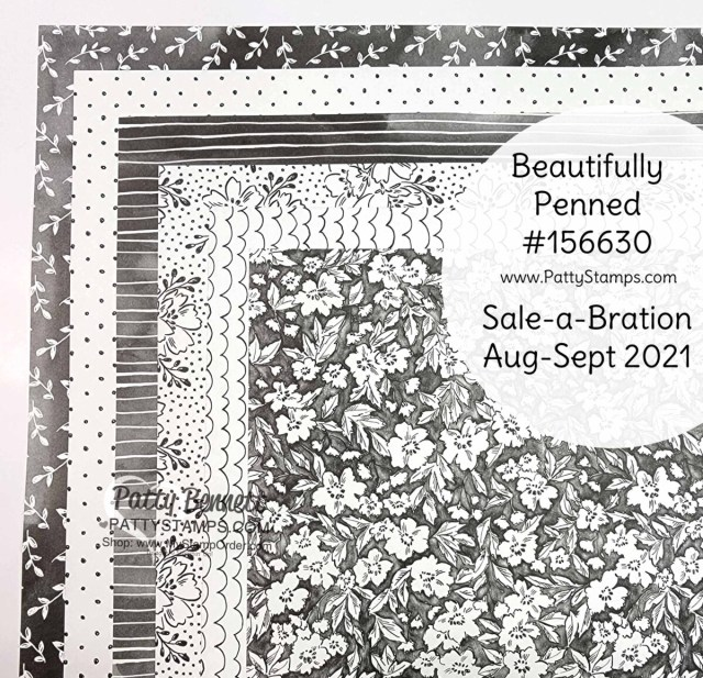 Stampin' Up! Sale-a-Bration Aug/Sept 2021 designer paper: Beautifully Penned # 156630 www.PattyStamps.com