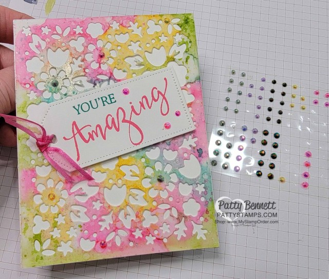 Die cut the Alcohol Ink background with the Flower Market die for a beautiful card! www.PattyStamps.com