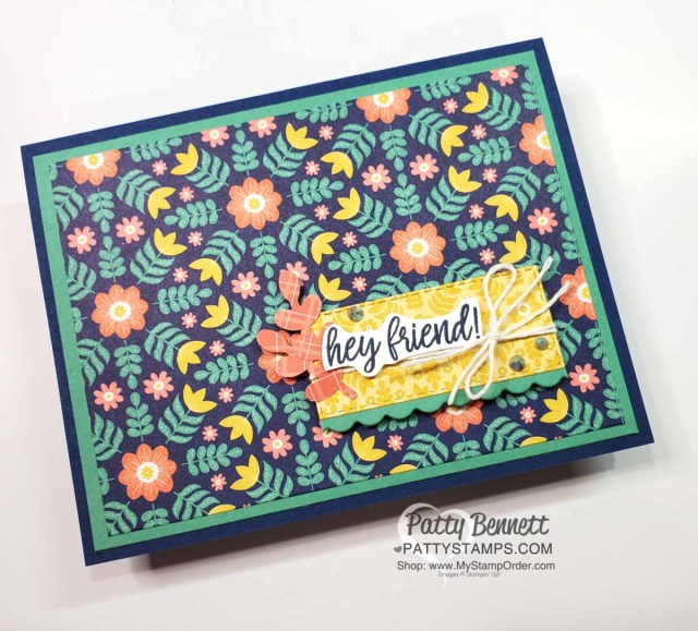 In Symmetry Stampin' Up! designer paper quick and easy card idea.  www.pattystamps.com