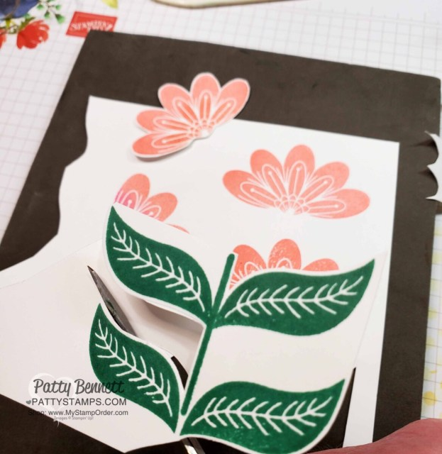 Stamping flowers for In Symmetry designer paper card idea with Basic Patterns polka dot mask. www.pattystamps.com