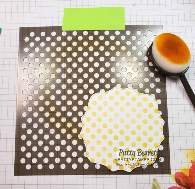 In Symmetry designer paper card idea with Basic Patterns polka dot mask. www.pattystamps.com